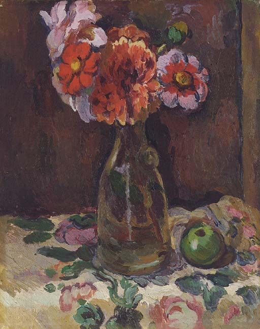 Still life of flowers in a carafe, Duncan Grant. Scottish Camden Town Group Painter (1885 - 1978).