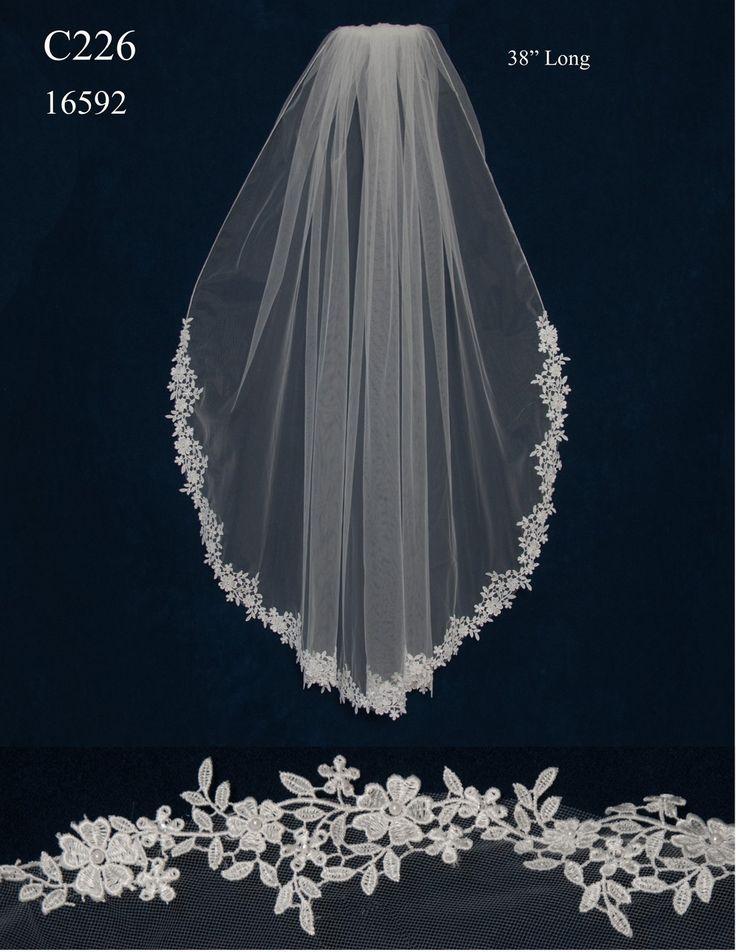 Venise Lace Edge Fingertip Length Wedding Veil C226 - Affordable Elegance Bridal -