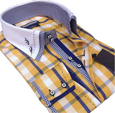 New Mens Smart Casual, Yellow, White, Blue Check Double Collar Slim Fit Shirt