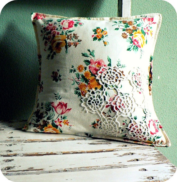 granny chic pillow....if I only had a doily