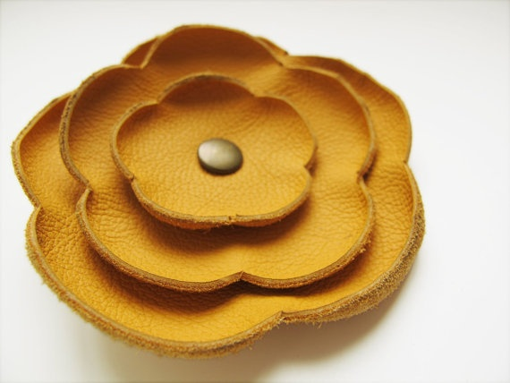 Tangerine leather Poppy flower Brooch by katrinshine on Etsy, $15.00