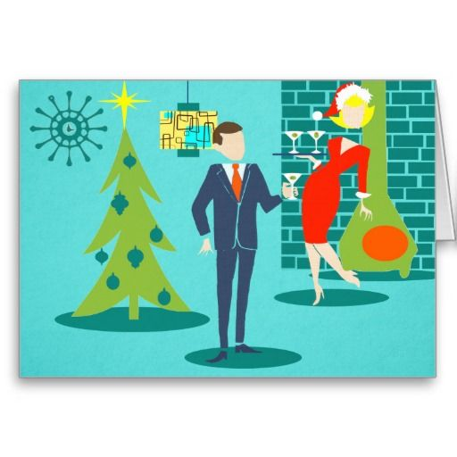 This Retro Holiday Cartoon Couple Christmas Card will put you in the holiday spirit. The front design features a turquoise background with teal bricks and an olive green, cone fireplace. There is a teal, starburst wall clock and a two-tier pendant lamp in shades of yellow, blue and black. A green Christmas tree is adorned with a yellow star and teal ornaments. Front and center, there is a distinguished, martini-swilling businessman in a blue suit and orange tie. To his side, his blonde ...