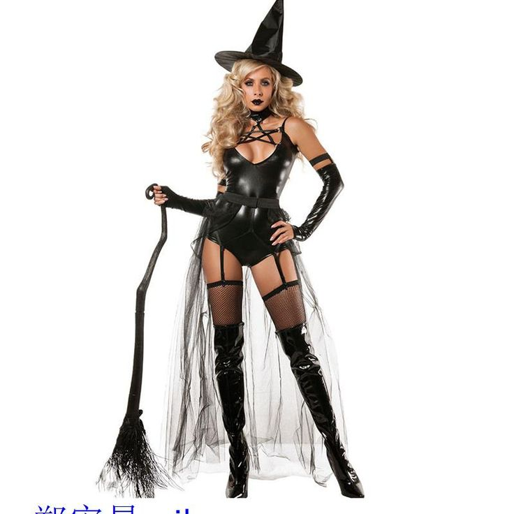 Hot Sale 4pcs Hollow Out Miss Witchcraft Costume Halloween Adult Lace Costumes For Women LC8940 Fantasias Femininas Para Festa