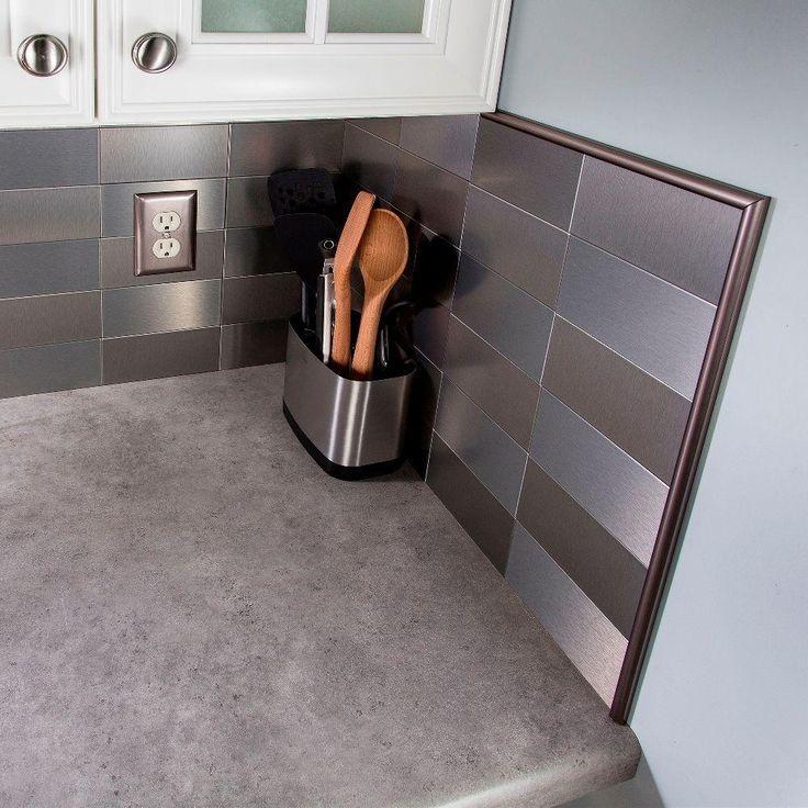 Bronze Steel Peel And Stick Decorative Wall Tile Trim