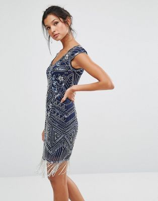 $210 (size 2-12) Frock and Frill Embellished Mini Flapper Dress
