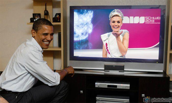 Dominique Rinderknecht Miss Universe Switzerland 2013 watch live Obama