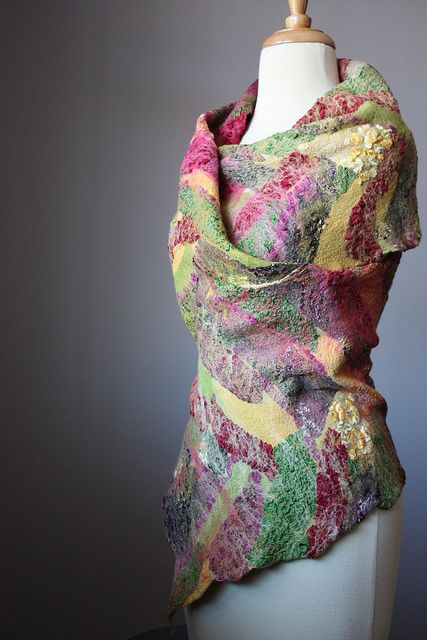 Nuno felted shawl wrap collage contemporary fiber art by VitalTemptation , Etsy, via Flickr