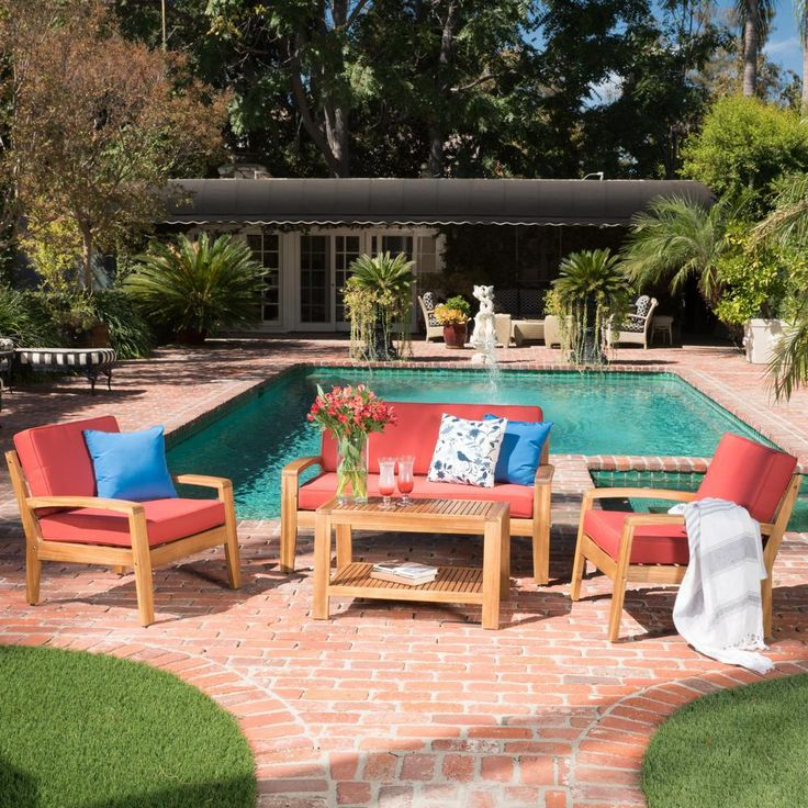 Noble House 4Piece Wood Patio Conversation Set with Red
