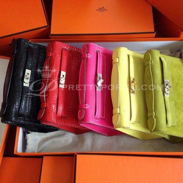 ??Multicolored Pochettes Hermes Kelly Mini Pochette: Crocodile ...