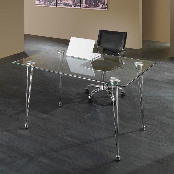 Scrivania da ufficio design in metallo e vetro 130 x 80 cm