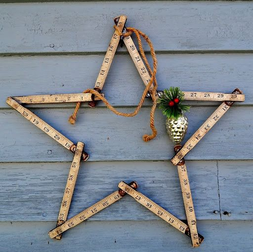 Holiday star from a carpenter's folding ruler. Hand fashioned by BarnCandy.