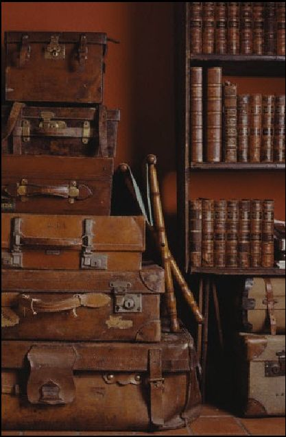 Library vignette: rust wall, a stack of cognac colored leather suitcases and shelves with leather bound books
