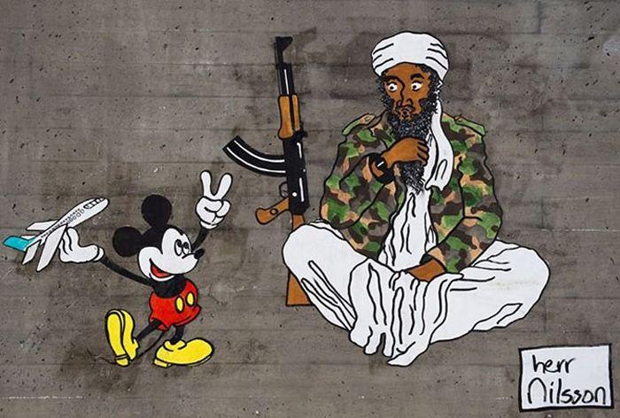 The harsh reality of fairy tales in street art...Street Art by Herr Nilsson
