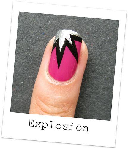 Explosion design tape mani