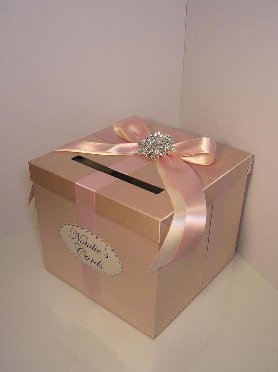 bodaquinceañerasweet 16 card box champagne y blush rosa