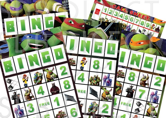 Ninja Turtle Bingo Game, Ninja Turtle Party Games, Ninja Turtle Birthday, Ninja Turtle Supplies, Printable. $5.99, via Etsy.