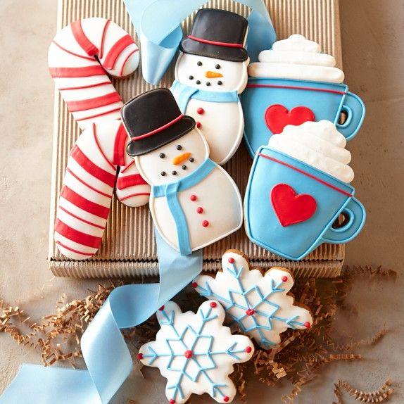 Assorted Winter Cookie Gift Box: Sugar Cookies, Winter Cookies, Christmas Cookies, Cookies Decor, Decor Cookies, Candy Canes, Cookies Gifts, Gifts Boxes, Snowman Cookies