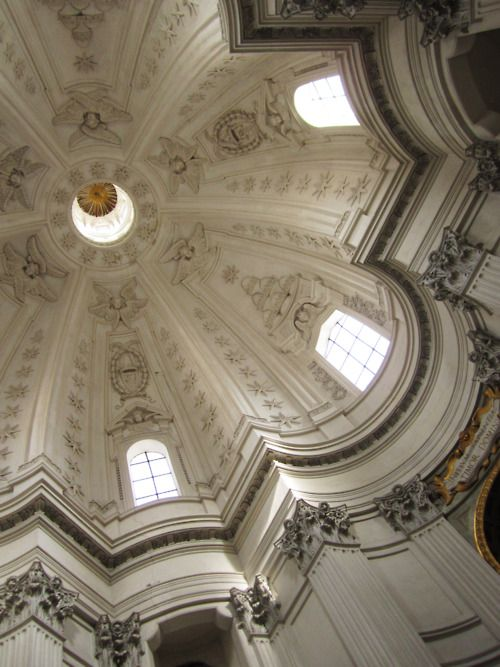 FRANCESCO BORROMINI:  Interior view of the dome, Sant'Ivo Chapel, College of Sapienza, Rome. begun 1642. Notice the opposing concave and convex curves so typical of Baroque archotecture.