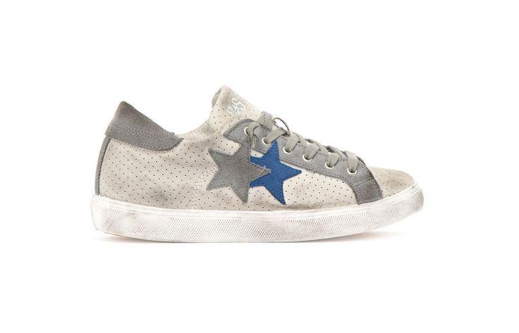 Sneaker 2 Two Star uomo 2su1409 low grigio e azzurro spring summer 2017