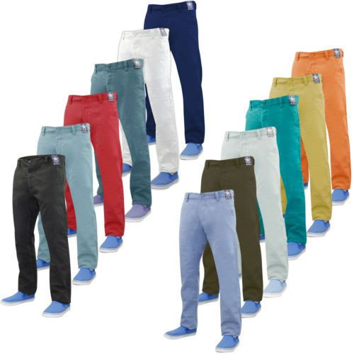 Da Uomo Designer Kushiro Slim Fit Twill Chino Pantaloni A Sigaretta Cotone