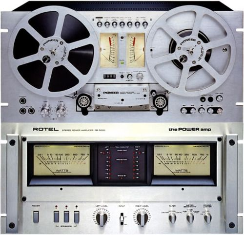 pioneer reel to reel tape machine and rotel power amp.