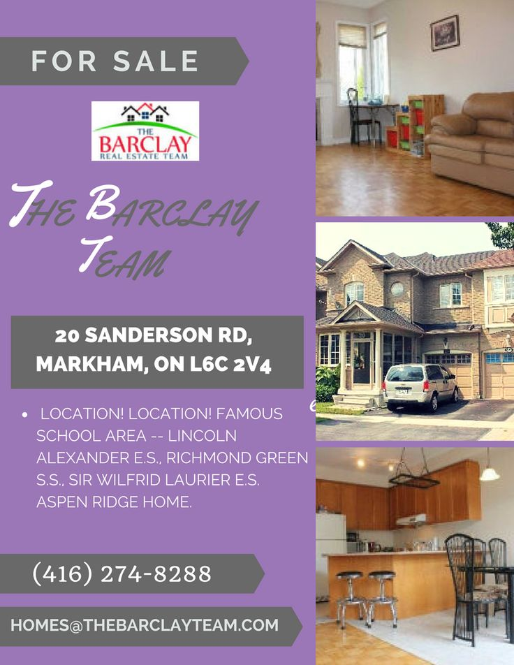 LOCATION! LOCATION! FAMOUS SCHOOL AREA -- LINCOLN ALEXANDER E.S., RICHMOND GREEN S.S., SIR WILFRID LAURIER E.S. ASPEN RIDGE HOME  Call The Barclay Team at (416) 274-8288 now for showings and bookings.