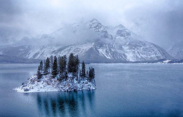 Обои картинки фото кананаскис, альберта, канада, озеро