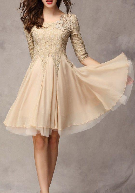Khaki Plain Seven's Sleeve Ankle Wrap Lace Dress