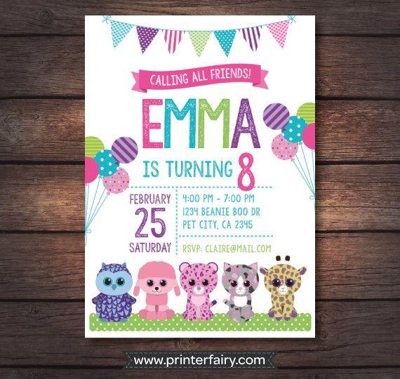 Beanie Boo invitation Beanie Boo birthday Beanie by PrinterFairy
