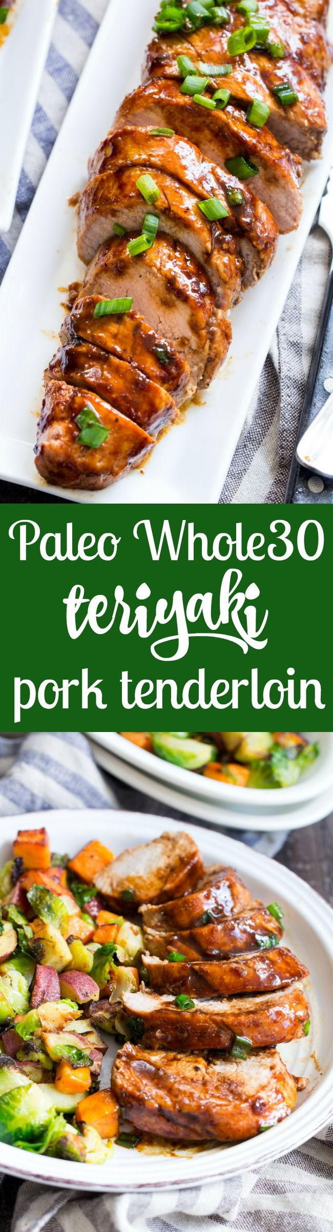 This paleo Pork Tenderloin takes just 30 minutes from start to finish and is perfect for weeknight dinners!  Cooked all in one pan with a Whole30 friendly teriyaki sauce that's kid approved and goes perfectly with cauliflower rice or your favorite veggie side dish.