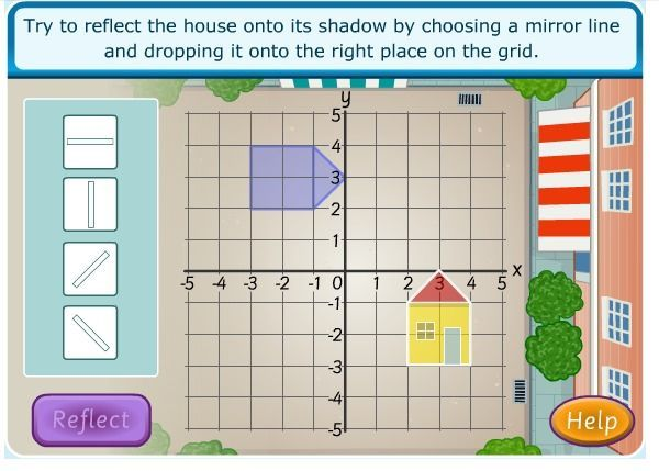 www.sciencekids.co.nz--Transformations, rotation, and reflection. This has activities like reflecting the house on to its shadow and rotating the house clockwise, etc. Great introduction to transformation.