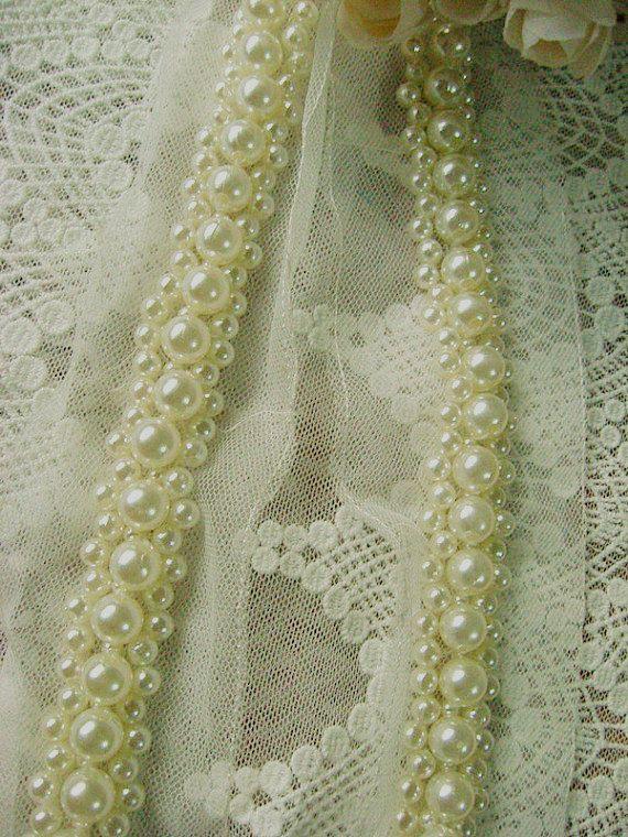 pearl beaded Trim  rhinestone trim bridal sash by WeddingbySophie, $7.90