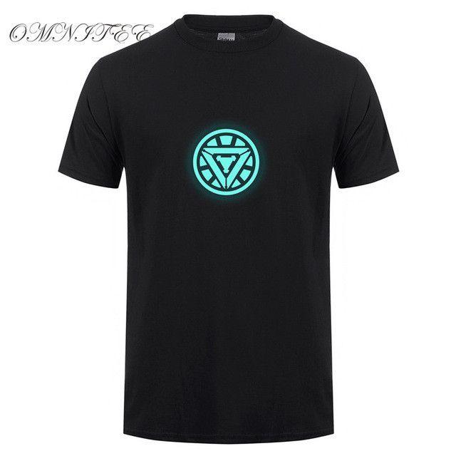 New Noctilucence Luminous T Shirt Iron Man Flash Batman T-shirt Short Sleeve Fluorescent Super heroes Superman Deadpool Clothing