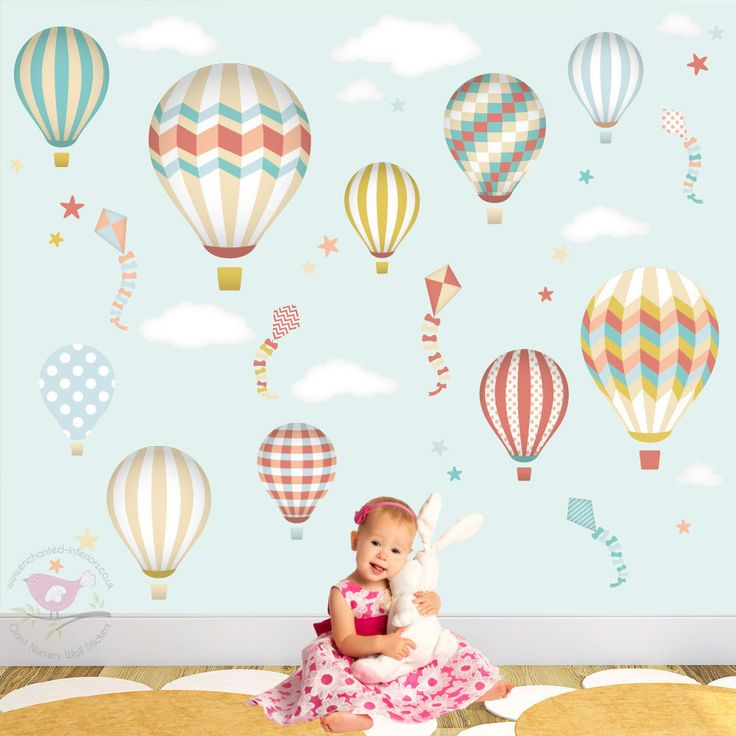 Hot Air Balloon Wall Decal also featuring Kites and Star Baby Wall Stickers nursery wall decal gender neutral boys and girls bedroom art (124.95 GBP) by EnchantedInteriorsUK