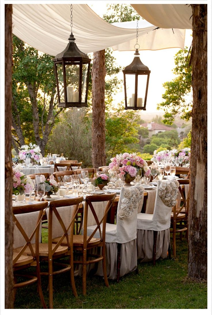 outdoor reception - swags of fabric canopy & lanterns