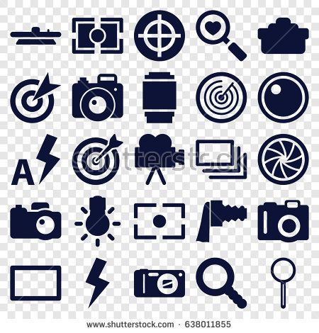 Focus icons set. set of 25 focus filled icons such as camera, heart search, magnifier, search, camera zoom, burst, flash, auto flash