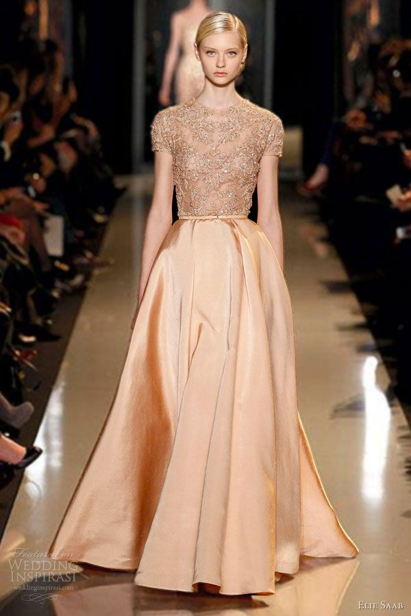 elie saab couture 2013 melon peach blush silk shantung gown embroidered lace guipure bodice