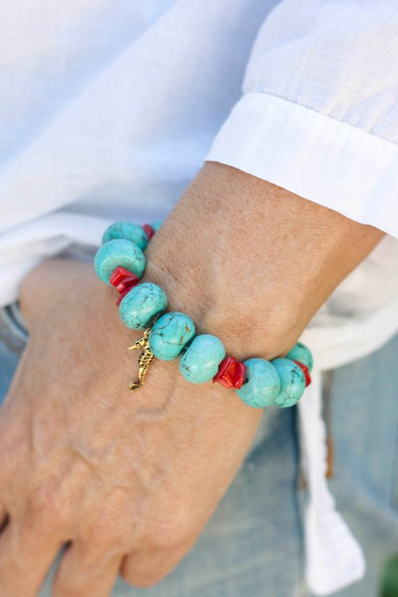 Mediterranean Red Coral and turquoise bracelet by MartaDissenys, €16.00