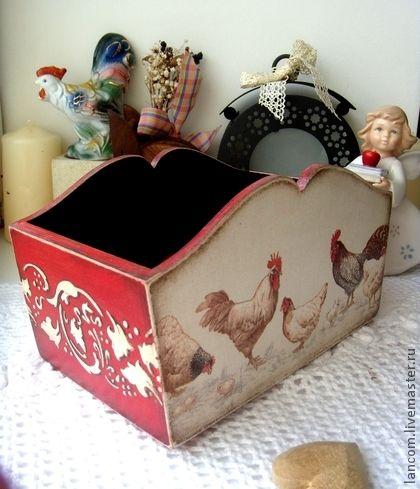 """Короб """"Красная дача"""" - ярко-красный,пасхальный подарок,Пасха,короб для кухни"""