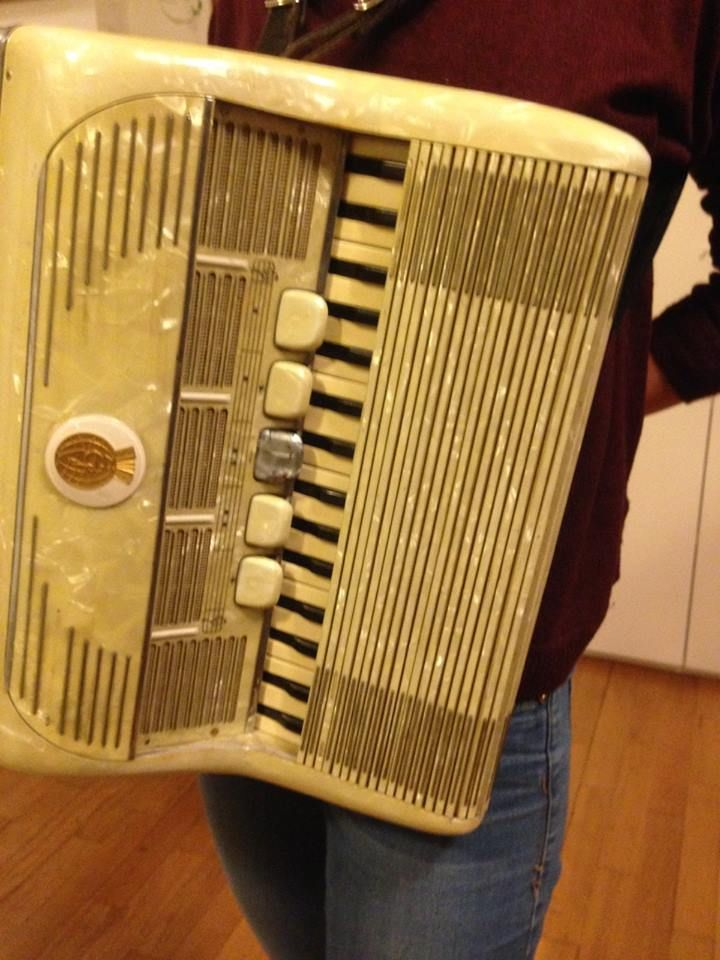 Galanti, Mondaino, Italy (1950s) Amazing accordion with roller shutters for both manuals. Created especially for playing outdoors. See more pics