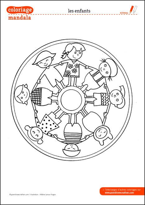 Coloriage Mandala : Les enfants
