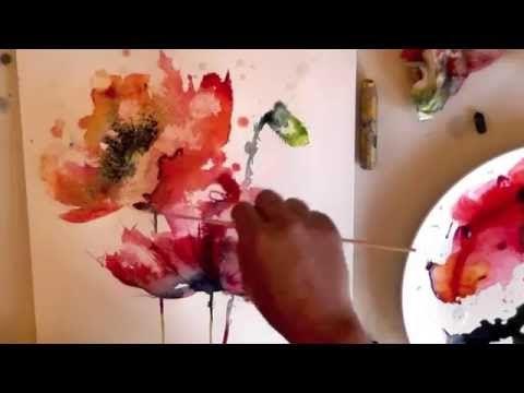 watercolour aquarelle poppies poppy painting demo - YouTube