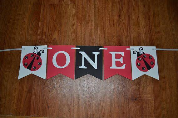 Ladybug Birthday Party, Ladybug Highchair Banner, Ladybug Theme,  Ladybug ONE Banner, Ladybug 1st Birthday, Ladybug Party