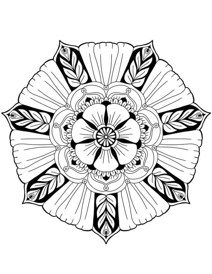 Weisse Mandala Blume Und Viele Weisse Und Schwarze Kleine Blatter Und Blumen Eine Mandala Figur Zum Azsdru Mandala Blumen Mandala Malvorlagen Malvorlage Einhorn