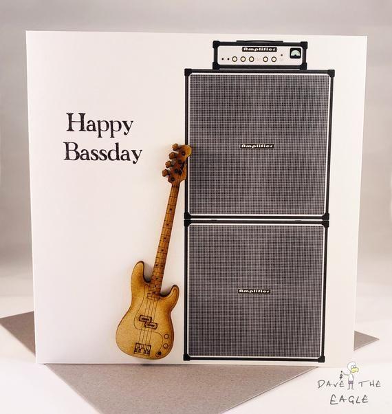 Bass Guitar Birthday Card Happy Bassday Birthday Cards Personalized Birthday Cards Cards