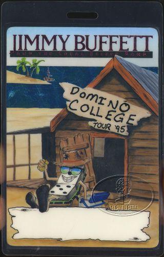 JIMMY BUFFETT 1995 DOMINO COLLEGE TOUR LAMINATED BACKSTAGE PASS