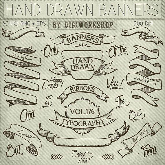 "Hand Drawn banners clipart: Digital clip art ""Hand Drawn Banners"" pack with banners, ribbons, words in hand drawn style"