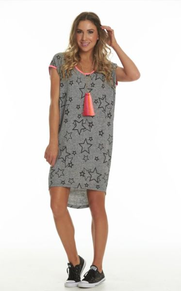 Charlo Barby Dress Stretch knit fabric with black stars and small coloured flecks through the print.  Relaxed Fit