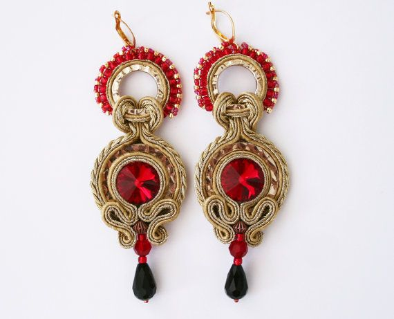 Gold lion / handmade soutache earrings gold and ruby red for game of throne fans