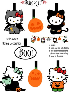 Free Hello Kitty printable paper bunting to print and hang as Halloween decoration.
